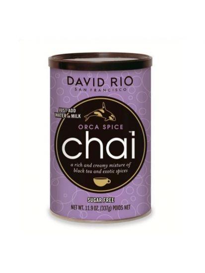 David Rio Orca Spice Sugarfree Chai - bez cukru - dóza 337 g + bateriový napěňovač mléka jako DÁREK - 2