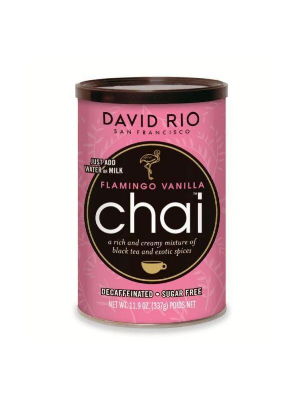 David Rio Flamingo Vanilla Sugarfree Chai - bez kofeinu a cukru - dóza 337 g + bateriový napěňovač mléka jako DÁREK - 2