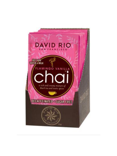 David Rio Flamingo Vanilla Sugarfree Chai - sáčky display 12x28gr + bateriový napěňovač mléka jako DÁREK - 2